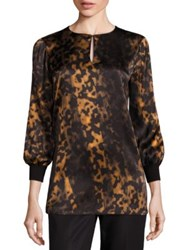 Lafayette 148 New York Kelsey Silk Leopard Print Blouse Black Multi
