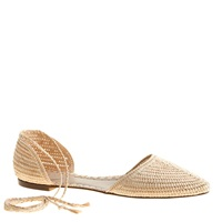 J.Crew Pre Order Woven Straw D'orsay Flats With Ankle Tie Vintage Champagne