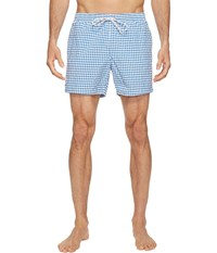 Lacoste Taffeta Gingham Swim Short Length Thermal Blue White Men's Swimwear