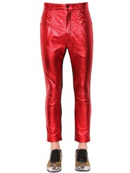 Haider Ackermann Skinny Metallic Leather And Suede Pants