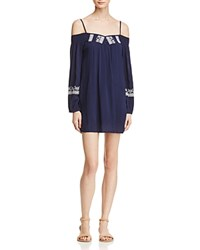 Band Of Gypsies Embroidered Cold Shoulder Dress Navy White