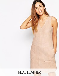 Warehouse Suede Shift Dress Palepink