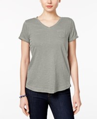 Style And Co Petite V Neck Pocket T Shirt Only At Macy's Misty Grey Heather