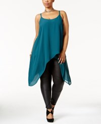 Mblm By Tess Holliday Trendy Plus Size Asymmetrical Tunic Very Deep Teal