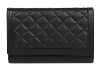 Dents Ladies Quilted Flap Over Purse Black