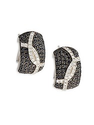 Roberto Coin Black Sapphire And Sterling Silver Earrings White Gold