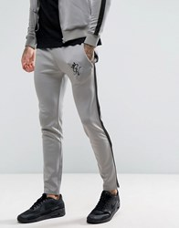 Gym King Track Skinny Joggers In Grey With Black Stripe