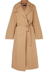 Nili Lotan Topher Distressed Cotton Gabardine Trench Coat Beige