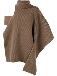 Ports 1961 Ribbed Roll Neck Knitted Top Neutrals