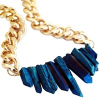 Shh By Sadie Rocked Up Crystal Quartz Necklace Sapphire