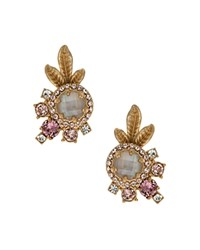 Marchesa Cluster Stud Earrings Gold White