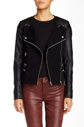 Abs By Allen Schwartz Scoop Knit Faux Leather Jacket Black