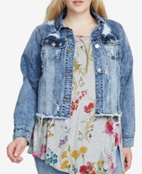 Rachel Roy Trendy Plus Size Distressed Denim Jacket Med Blue