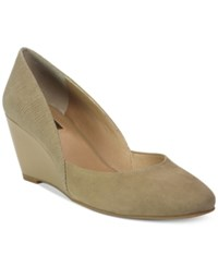 Tahari Palace Colorblock Wedge Pumps Women's Shoes Fawn