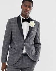 Selected Homme Slim Suit Jacket With Satin Roll Lapel In Grey Grid Check