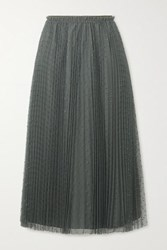Red Valentino Redvalentino Pleated Swiss Dot Tulle Midi Skirt Army Green