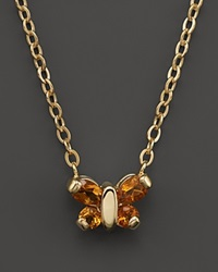 Bloomingdale's Citrine Butterfly Pendant Necklace In 14K Yellow Gold 16