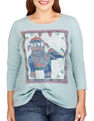 Lucky Brand Plus Plus Elephant Print Top Silver Blue