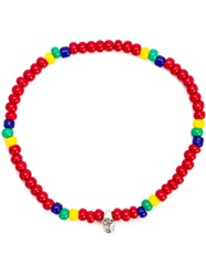 Luis Morais Mini Skull Beaded Bracelet Red