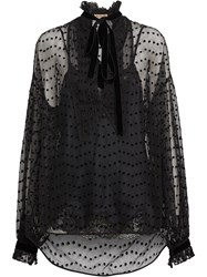 Burberry Polka Dot Flock Tulle Tie Neck Blouse Black