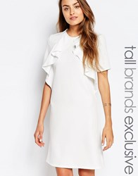 Alter Tall Ruffle Front Short Sleeve Shift Dress Cream