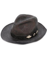 Htc Hollywood Trading Company Woven Hat Men Leather Straw 58 Black