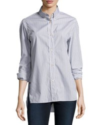 Isabel Marant Lilianne Striped Cotton Blouse Gray
