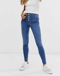 B.Young Skinny Jeans With Button Fly Blue