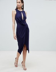 Lavish Alice Wrap Front Midi Dress Navy