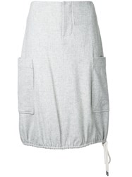 Bassike Drawstring Skirt Women Elastodiene Polyamide Wool 14 Grey