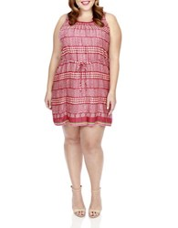Lucky Brand Plus Printed Jacquard Dress Red Mult
