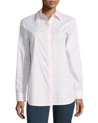 Lafayette 148 New York Brody Gingham Blouse Light Pink