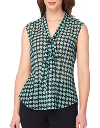 Tahari By Arthur S. Levine Tie Neck Houndstooth Woven Top Black