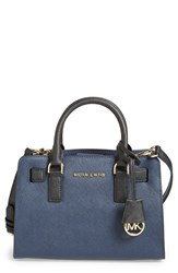 Michael Michael Kors 'Small' Bicolor Saffiano Leather Satchel Blue Navy Black