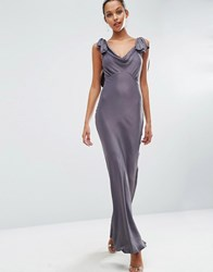 Asos Wedding Bias Cut Satin Maxi Dress Slate Grey