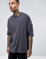 Asos Extreme Oversized T Shirt With Ruched Batwing Sleeves In Washed Black Washed Black Grey