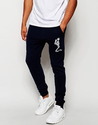 Religion Joggers With Large Skeleton Emroidery Navy