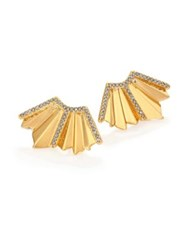 Giles And Brother Ray Fan Pave Crystal Earrings Goldtone