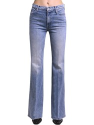 Mother Doozy Flared High Rise Cotton Jeans Light Blue