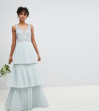 Maya Floral Sequin Top Maxi Bridesmaid Dress With Tiered Ruffle Pleated Skirt Ice Blue