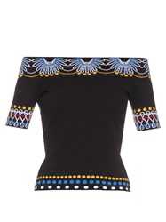 Peter Pilotto Geometric Knit Off The Shoulder Top
