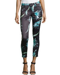 Marchesa Voyage Printed Skinny Leg Pants Black Float