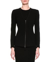 Giorgio Armani Chevron Knit Zip Front Jacket Black