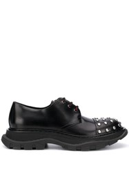Alexander Mcqueen Crystal Toe Lace Up Shoes Black