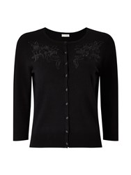 Precis Petite Kendal Embroidered Cardigan Black