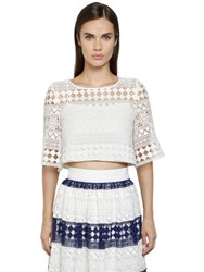 Philosophy Di Lorenzo Serafini Cropped Cotton Macrame Top