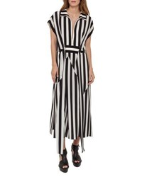 Akris Striped Zip Front Shirtdress Black White Black White