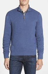 Nordstrom Men's Big And Tall Ribbed Quarter Zip Sweater Blue Dark Heather
