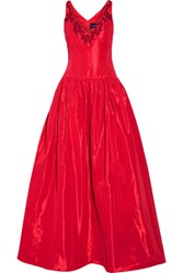 Marchesa Notte Embellished Faille Gown Red