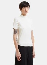Nomia Mock Neck Rib Knit T Shirt White